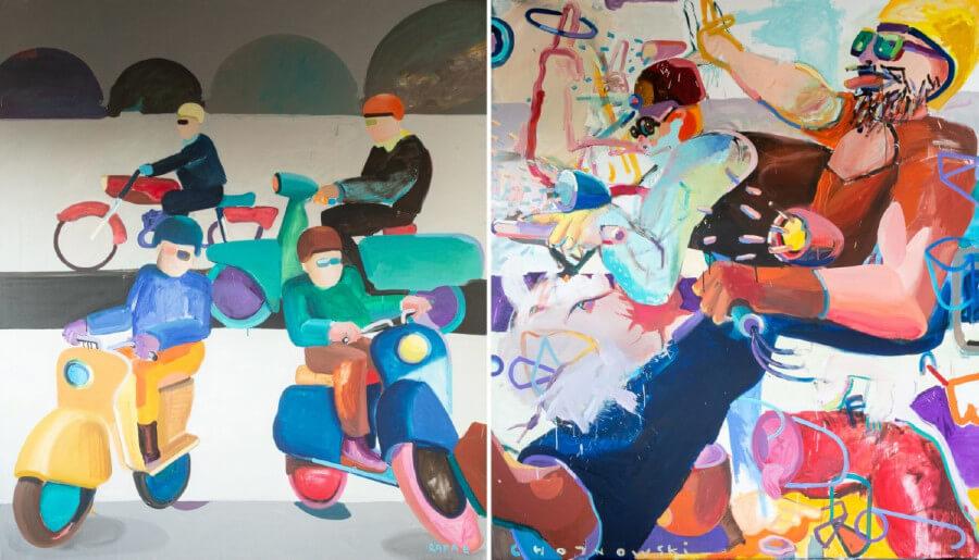 Dwa obrazy abstrakcyjnej figuracji