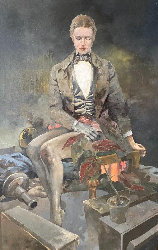Obraz mężczyzny, który siedzi